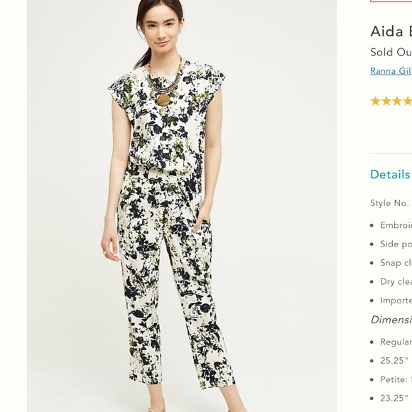 5549a290894ce Anthropologie Other | Ranna Gill Aida Embroidered Jumpsuit | Poshmark